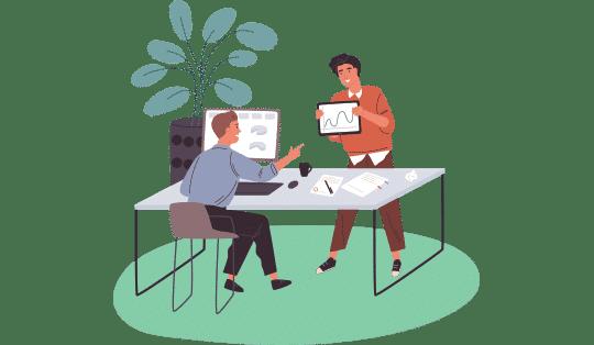 Illustration - Working at Desk