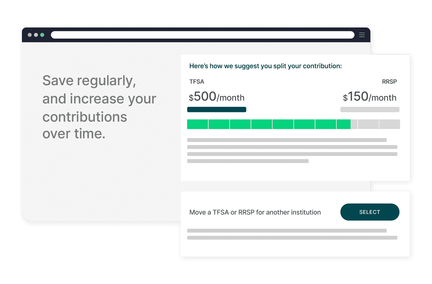 Save regularly and increase contributions over time