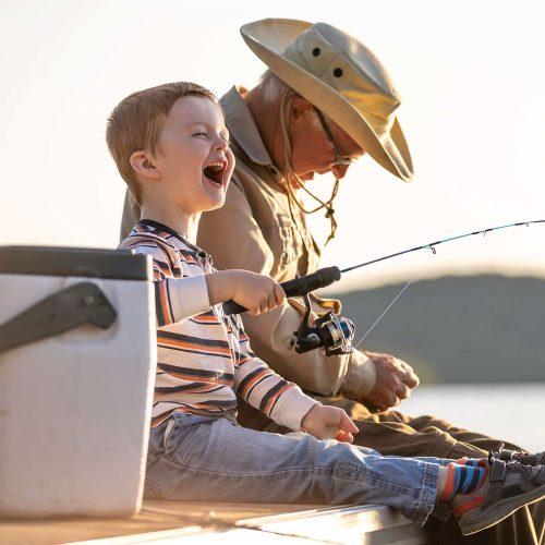 Fun fishing with grandpa